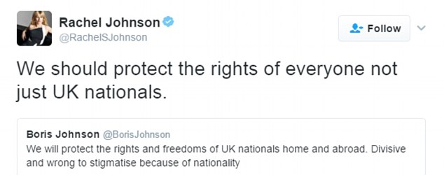 In a remarkable public dig at her brother, Mr Johnson's sister, Rachel, replied to his tweet saying Britain should 'protect the rights of everyone, not just UK nationals'