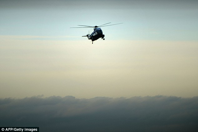 Marine One with US President Donald Trump and Ivanka on board, just before it lands at Dover Air Force Base