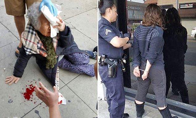 Korean grandma attacked by woman shouting white power