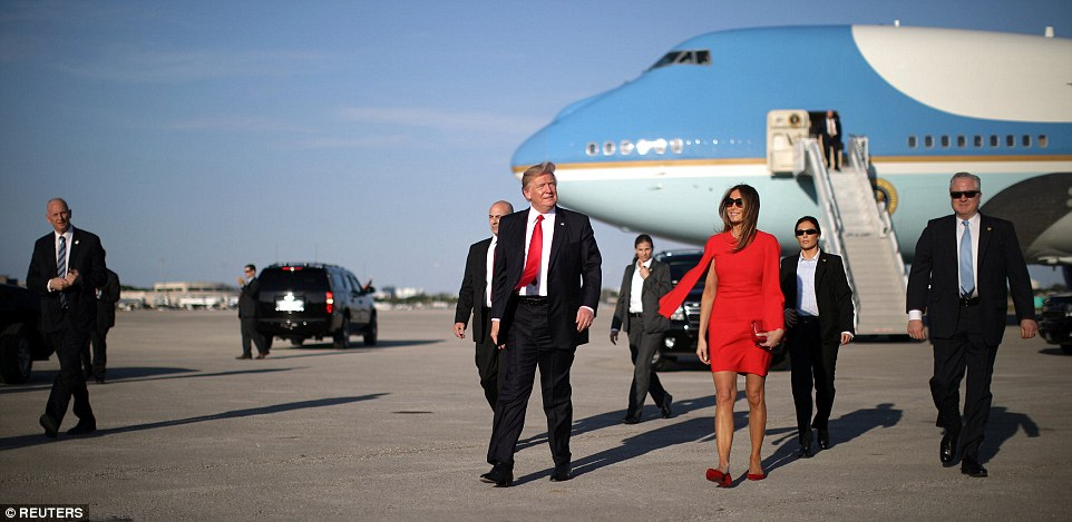 UPGRADE: Trump arrivedat West Palm Beach International airport aboard Air Force One, and was greeted by First Lady Melania Trump