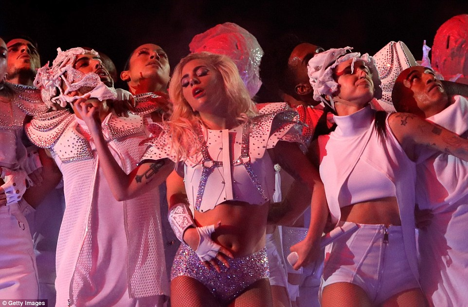 In the zone: Gaga was committed to giving it her all and the crowd went crazy with delight