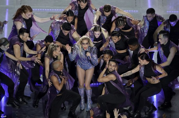 """Music speaks for itself: Her hit """"Born This Way"""" became a gay rights anthem but in the context of Sunday's show fit into the idea of accepting differences, a thread through much of the game's commercial messaging"""