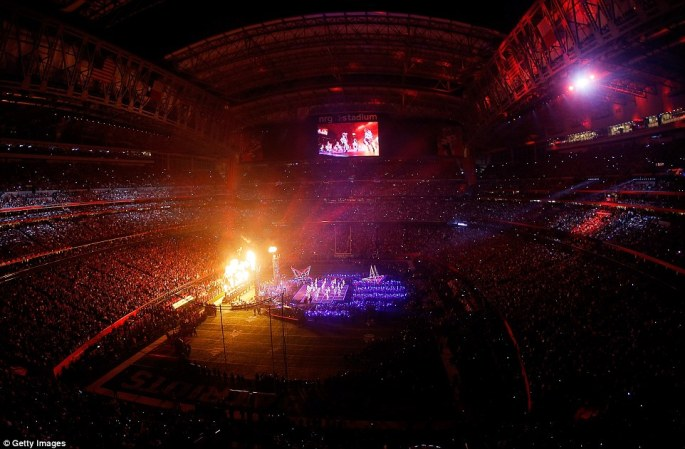 Open roof: Lady Gaga performs during the Pepsi Zero Sugar Super Bowl 51 Halftime Show at NRG Stadium