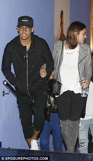 Barcelona star Neymar and his girlfriend, model Bruna Marquezine, head for the cinema