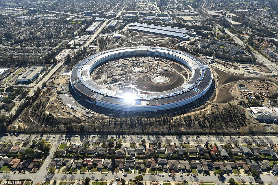 The new campus will be located at 1 Infinite Loop in Cupertino, which is part of the world-renowned Silicon Valley.Architect German de la Torre, who worked on the project, found many of the proportions - such as the curve of a rounded corner - came from Apple's products