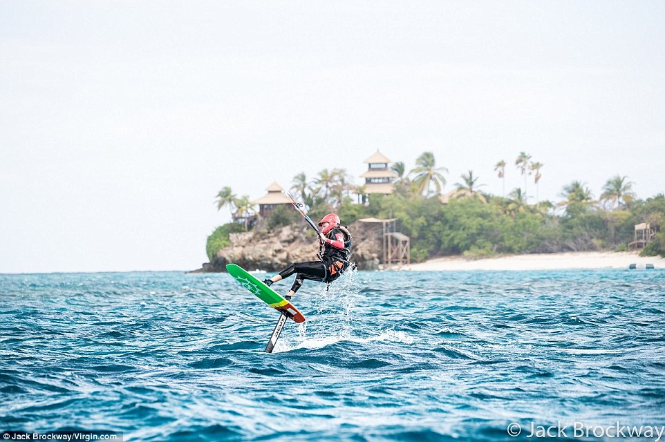 Sixty-six-year-old Branson, the founder of Virgin, got some air when he went out foil-boarding