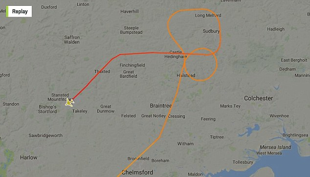 The flight had been due to land at Heathrow but following a 'disruptive passenger' on board, diverted to Stansted