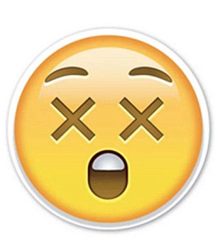 This smiley face with crosses for eyes, left, might appear shocked but it can actually mean the user has seen something X-rated