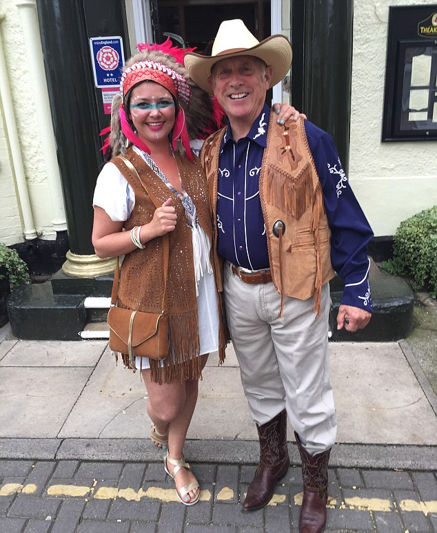 Fancy dress: Kirsten Farage confronted Godfrey Bloom about Laure Ferrari in 2013 at a Ukip fundraiser, blaming him for hiring her and introducing her to Nigel. Pictured: Miss Ferrari and Bloom at his cowboy themed birthday party