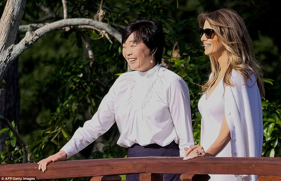 Mrs Trump spent time with Mrs Abe the day after she was criticized for not giving the Prime Minister of Japan's wife a tour of the White House, a tradition for the FLOTUS