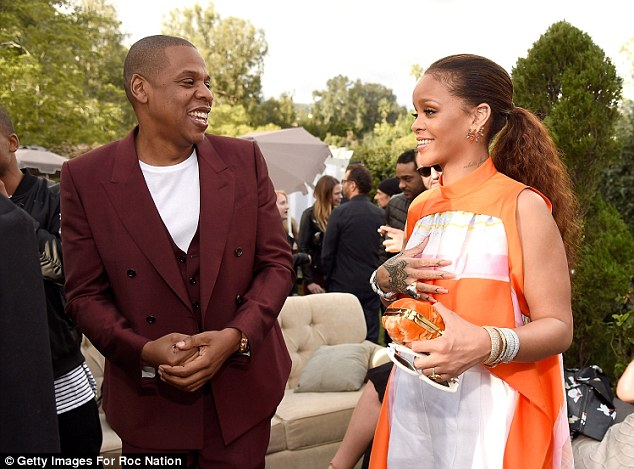The man himself: Rihanna mingled with Jay Z, Roc Nation founder and longtime friend