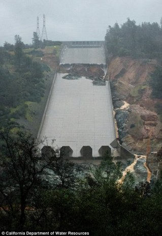 The problem: The crisis was sparked when authorities stopped allowing water down the main spillway to investigate a large hole caused by erosion (left), sending all of the surplus lake water to an emergency spillway which wasn't equipped to handle it. Now, water gushing down the eroded spillway again before storms bring more rain to the reservoir