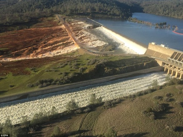 Precarious situation: An aerial of the Oroville Dam reveals the dangerous flooding at the spillway that has left the area in imminent danger of a catastrophic flood