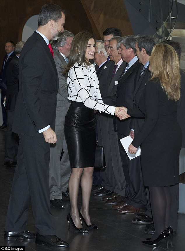 Queen Letizia Wears Leather Skirt For Event In Madrid