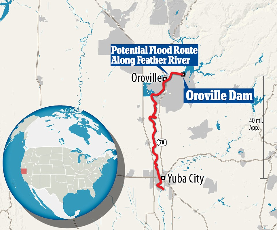 This map shows the potential worst case scenario for what could happen if the waters are not controlled and the flood breaks through the dam. It would take about 12 hours for the water to reach Yuba City more than 40 miles away following the path of the Feather River