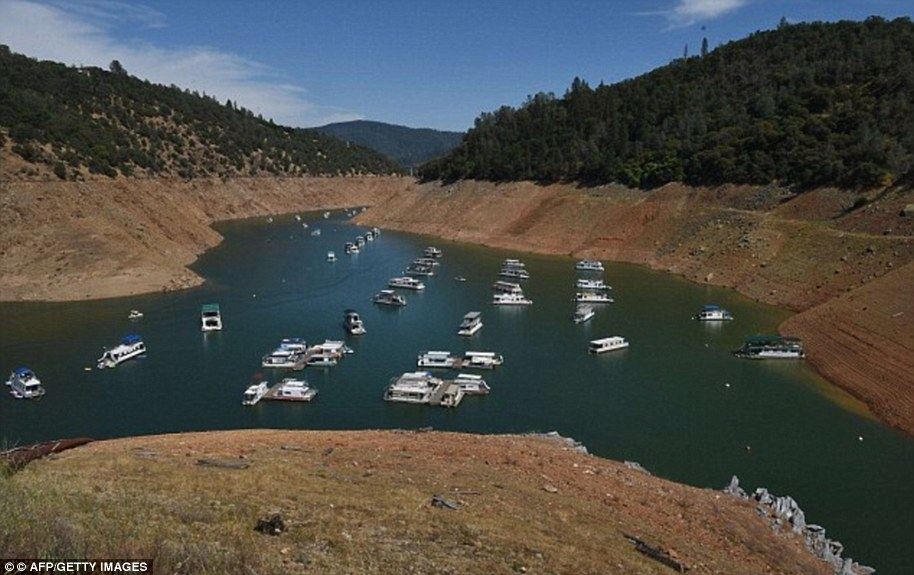 Dozens of houseboats had been forced to move closer together at the dam because there was simply not as much space for them to anchor as the drought continued