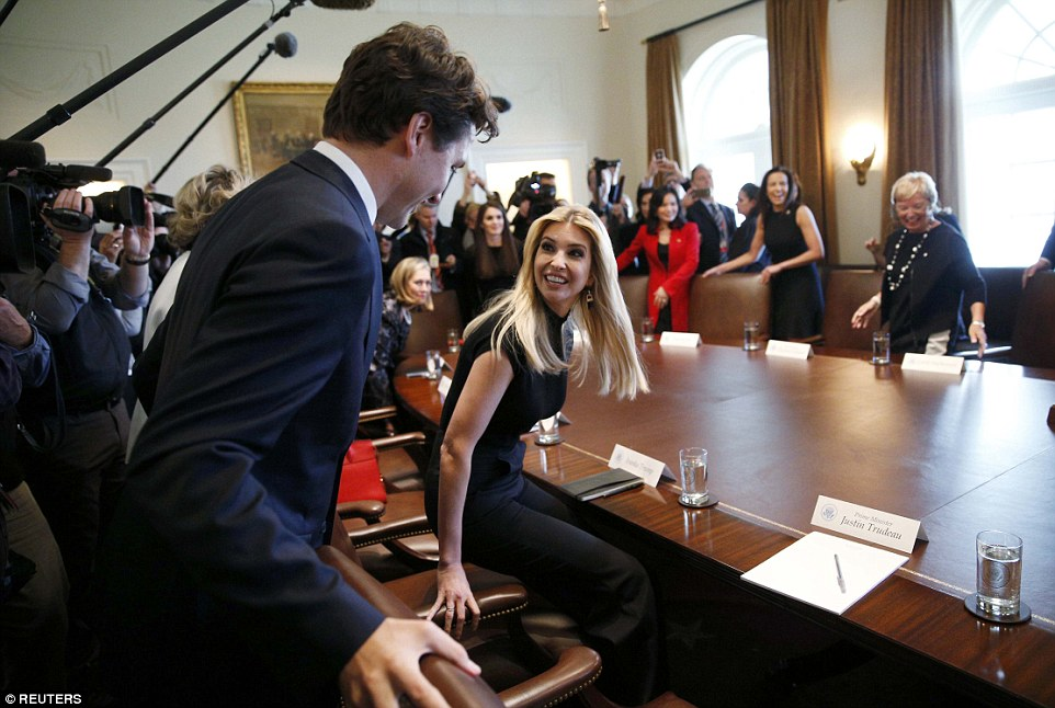 Ivanka, who is a passionate advocate for women in business, was excited to sit down with the Prime Minister at the start of the meeting
