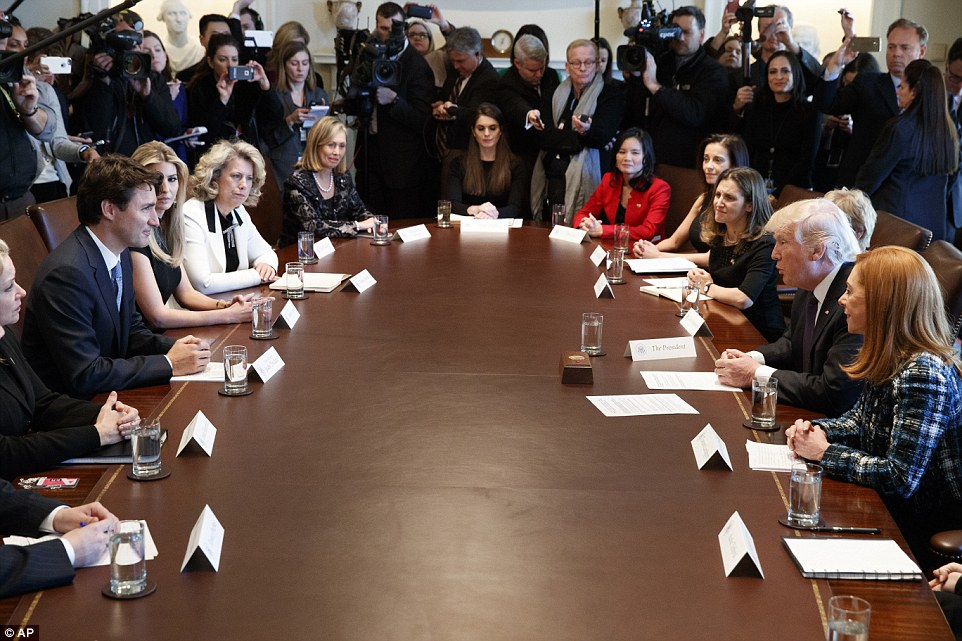L-R: Prime Minister Trudeau, Ivanka Trump, Dawn Farrell of TransAlta, Monique F. Leroux, Investissement Quebec, Hope Hicks, White House Director of Strategic Communications, Tina Lee, T&T Supermarket Inc. Carol Stephenson of General Motors is next to President Donald Trump and Tamara Lundgren of Schnitzer Steel Industries Inc. is on his other side