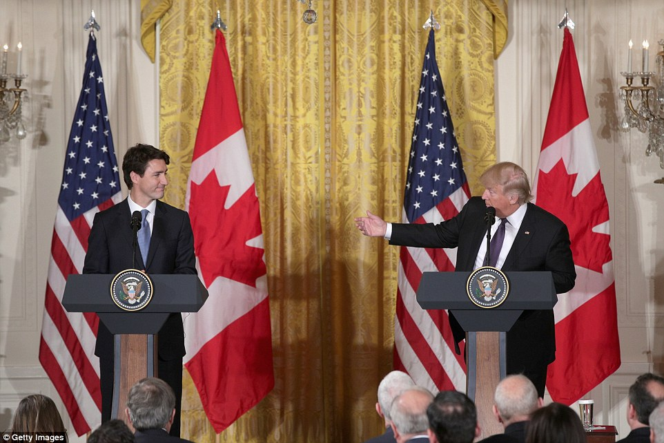 The two leaders gave a joint press conference later on Monday where they told of their plans to maintain relations between the US and Canada