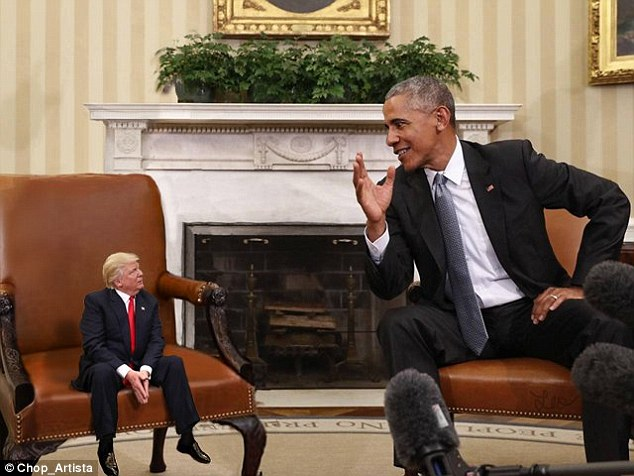 Enquanto Donald Trump se mostra como um grande líder, a internet começou photoshopping imagens do presidente olhando cerca de quatro metros de altura ao lado de outros como Barack Obama