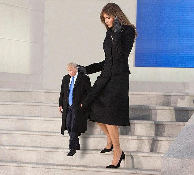 Primeira-dama, melania, trunfo, leva, minúsculo, trump, BAIXO, escadas, nós, capitole, washington, dc