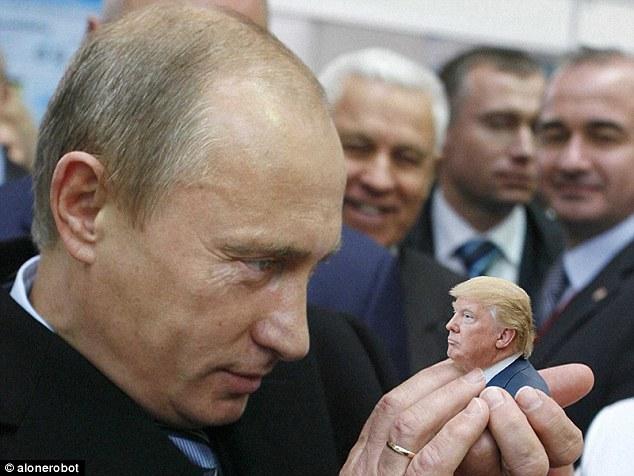 As imagens de Trump que olham particularmente minúsculas estão tomando o Internet pela tempestade enquanto é photoshopped em fotos com os líderes do mundo como Vladimir Putin de Rússia