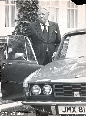Sir Edward Heath seen with his car in Weymouth, despite claims he never drove