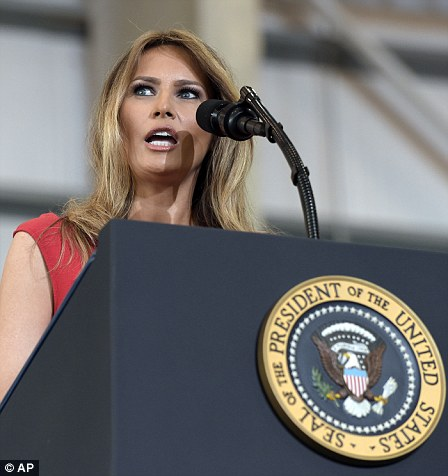 First Lady Melania Trump speaks at the 'Make America Great Again Rally'