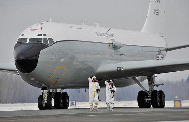 The WC-135 Constant Phoenix, which is known as a nuclear 'sniffer' plane, was deployed to Britain last week on an undisclosed mission (file image from a previous mission in 2011)