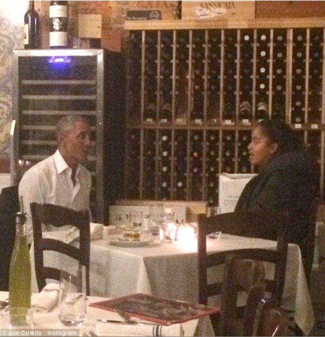 The eldest Obama daughter is currently living in the city while she interns at the Weinstein Co. Above, another picture from the daddy-daughter dinner Thursday night