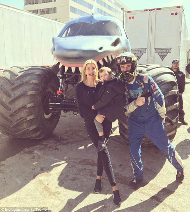Earlier on Sunday, the 35-year-old mom (pictured) took her kids to the Royal Farms Arena in Baltimore to watch the Monster Jam motorsports event, and shared her delight with her followers on Instagram