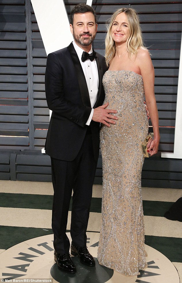 Molly McNearney with Jimmy Kimmel during her second pregnancy