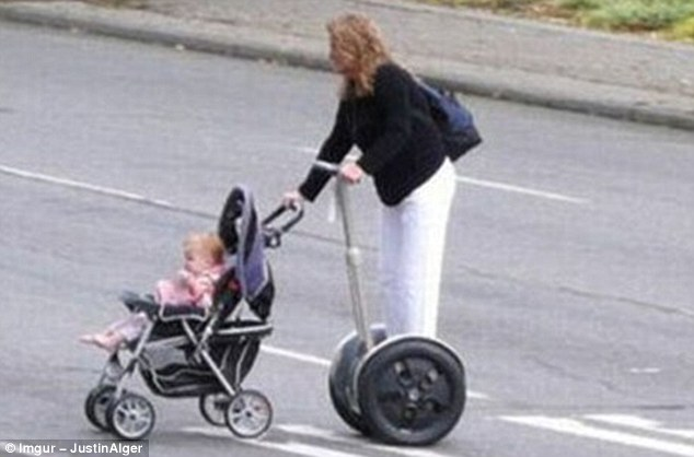 When pushing a toddler around on wheels all day got too strenuous, this woman acquired a set of her own