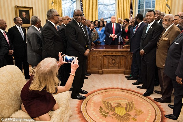 Some of the college leaders appeared to be surprised by Conway's behavior in the Oval Office