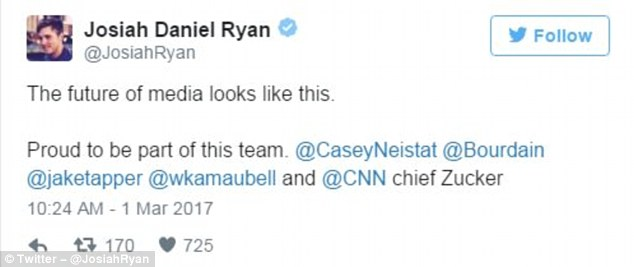 When Josiah Daniel Ryan, a CNN producer, retweeted the cover with the caption 'the future of media looks like this,' critics pounced, wondering if any women were part of the network's future