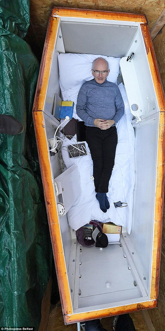 The shocking stunt is set to raise awareness of the needs of despairing people while John broadcasts stories of hope from a coffin