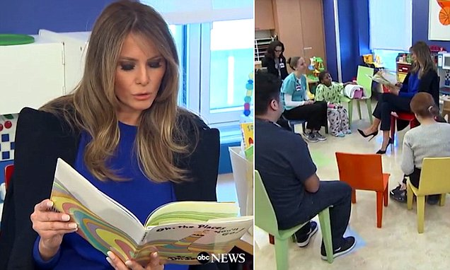 First Lady Melania Trump reads to kids at hospital