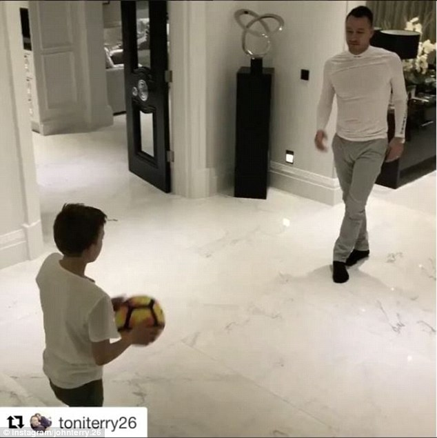 John Terry playing football with his son at home. This was one of the pictures posted on his Istagram page