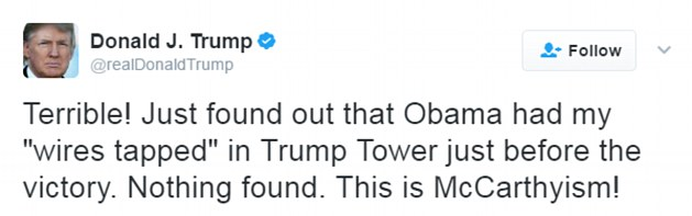 Trump accused Obama of tapping his phones at Trump Tower in a flurry of tweets early on Saturday morning, just hours after he erupted at his senior staff