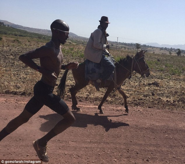The 33-year-old was also pictured exercising next to a man riding a horse in Ethiopia