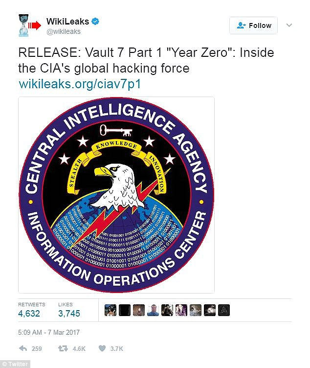 WikiLeaks said in a lengthy statement that the files, mysteriously dubbed ' Vault 7', are the most comprehensive release of U.S. spying files ever made public