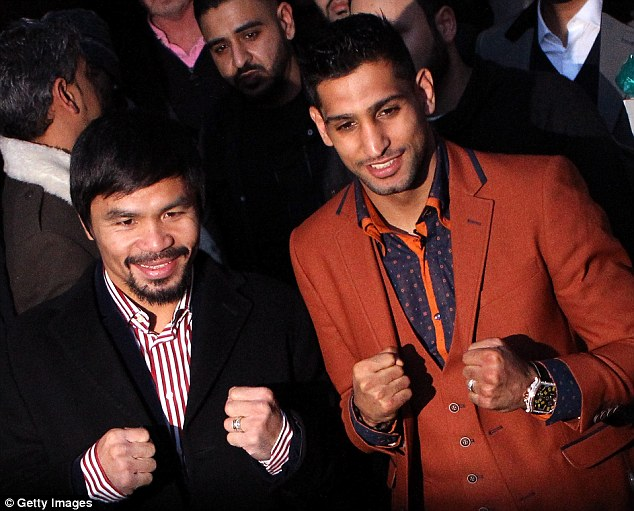 The Amir Khan and Manny Pacquiao (pictured back in January 2015) super fight appears off