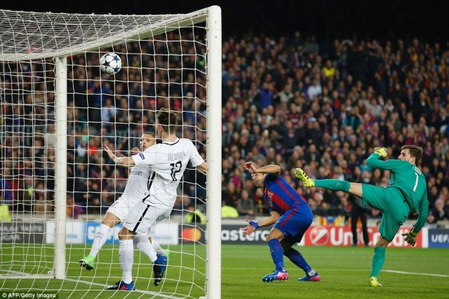 Suarez headed Barcelona into the lead in the third minute of the second leg at the Nou Camp on Wednesday