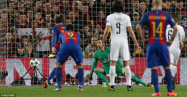 Messi powers home from the penalty spot to put Barcelona within one goal of drawing level on aggregate