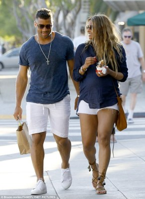 A big fan:It seems NFL star husband Russell Wilson, 28, liked his wife's look, as he apparently tried to duplicate her outfit