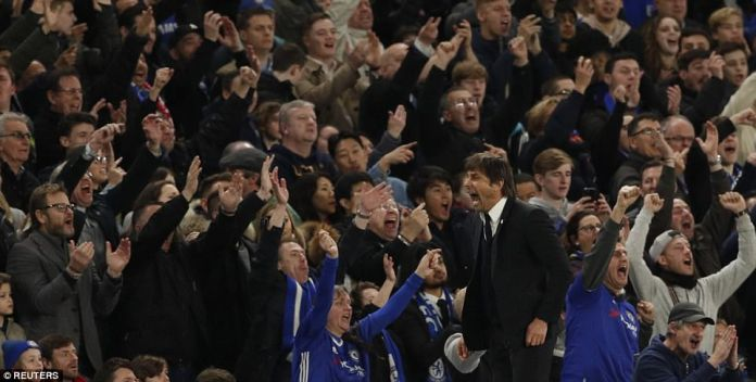 Chelsea boss Conte celebrated wildly after Manchester United were reduced to 10 men at the end of the first half