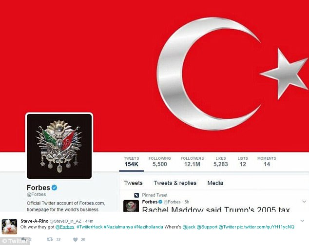 The verified Twitter account for Forbes.com was among those hacked. Its profile pictures were changed to the Turkish flag and a symbol of the Ottoman Empire