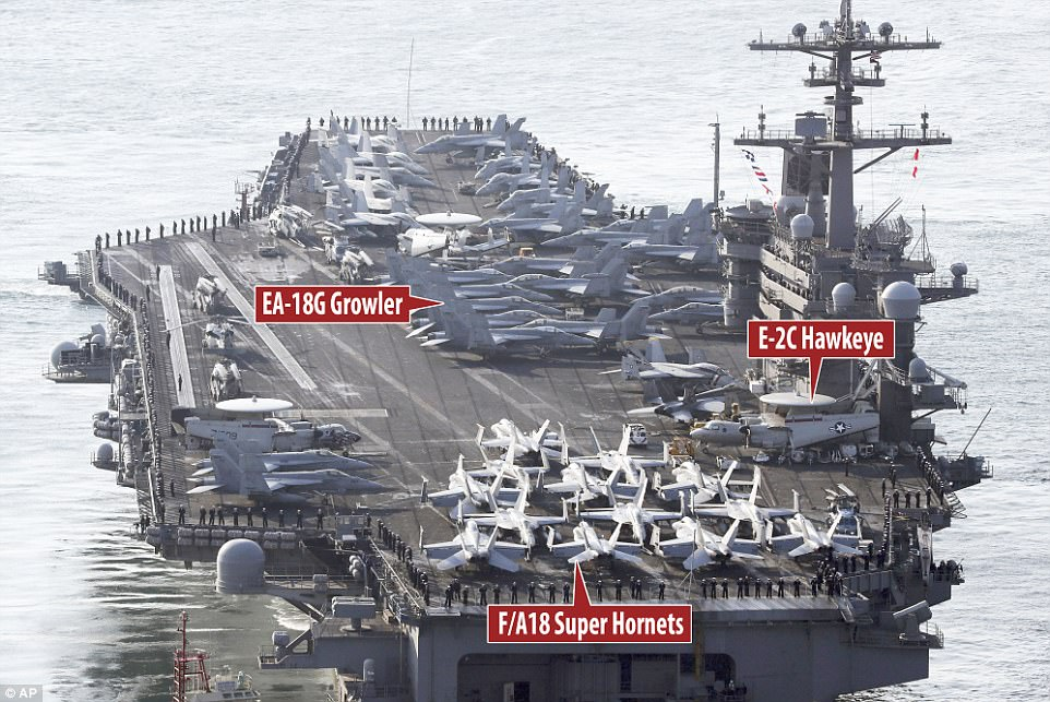 More than 80 aircraft, including the fighter aircraft F/A-18F Super Hornet (at the front of the carrier), the E-2C Hawkeye and the carrier-based EA-18G Growler (in the middle) are on board the super carrier