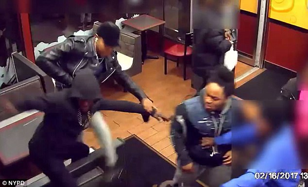 The two men started throwing punches and hitting the victim with his own cane, before two other men entered the restaurant and joined in