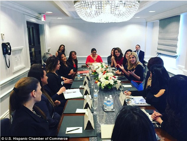 Power players: Ivanka Trump attended a roundtable event organized by the US Hispanic Chamber of Commerce on Thursday morning in Washington DC (center talking with group)